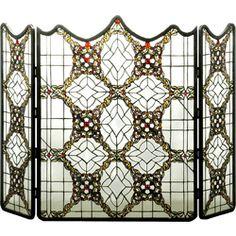 "Meyda Victorian Tiffany 51""W X 36""H Victorian Beveled Folding Fireplace Screen"