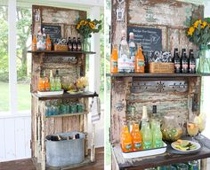 Turn an old door into a beverage bar with this DIY.