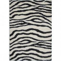 Shaggy Black and White Zebra Print Rug