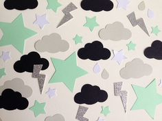 Birthday Party table confetti mint, black and silver glitter clouds, stars and lightening bolts
