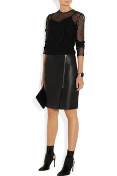Directionally cut from butter-soft leather, Alexander Wang's fully lined pencil skirt is stamped with the designer's ever-cool vision. Keep it edgy with a transparent top and lacquered boots.  Shown here with: Burberry London top, Maison Martin Margiela cuff, Kenneth Jay Lane rings, Pamela Love ring, Reed Krakoff shoes, Stella McCartney clutch.
