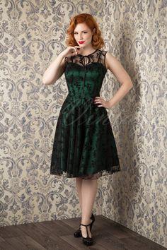 Vixen - 30s Classy Black Lace Satin Green Dress