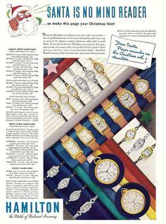 1936 Hamilton Watch Company Christmas ad.