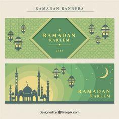 banners Ramadan decorativas com mesquita e lanters