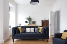 love the styled sofa Flynn 3 Seater Sofa, Opulent Navy | made.com
