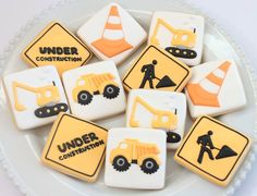 Construction cookies by Miss Biscuit Construction Cookies, Construction For Kids, Construction Birthday Parties, 4th Birthday Parties, Birthday Celebration, 2nd Birthday, Royal Icing Sugar, Royal Icing Cookies, Iced Cookies