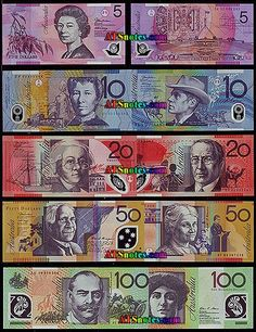 Australian Currency - Our money is very colorfoul and it is not paper! (It's plastic and has a clear 'window'). Money Meme, Money Sign, Money Notes, Money Box, Australian Money, Money Tattoo, Thinking Day, History, Catalog