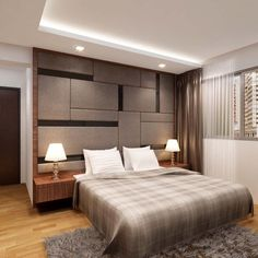 HDB BTO Contemporary Use of Mirror And Glass At Sengkang - Interior Design Singapore Wall Bed Designs, Bedroom Designs Images, Luxe Bedroom, Bedroom Bed Design, Wardrobe Design Bedroom, Simple Bedroom Design, Master Bedroom Interior, Bedroom Furniture Design, Ceiling Design Living Room