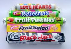 The fish and chip shop down the road used to sell the fruit salads and black jacks (the black jacks made your tongue go black). We used to get to eat los of sweets every weekend! 80s Sweets, Fruit Pastilles, British Sweets, Vintage Sweets, Fish And Chip Shop, Nostalgic Candy, Chocolate Sweets, Childhood Days, Sodas