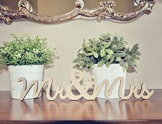 Mr & Mrs wood wedding decoration. $9.00, via Etsy.