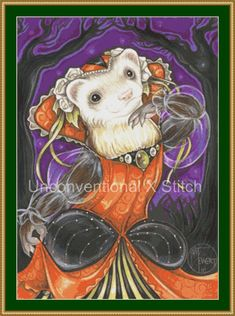 Autumn Princess Ferret cross stitch pattern - modern counted cross stitch - Licensed Natalie Ewert by UnconventionalX on Etsy