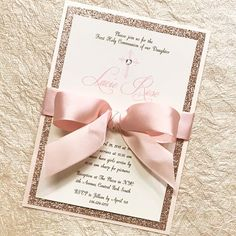 Rose Gold Communion Invitation Girl Communion Rose Gold