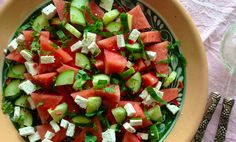 Salade met watermeloen, feta en munt