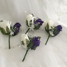 Set of 4 beautiful handmade double buttonholes in Cadbury Purple and White colourfast foam roses, ideal for Groom, Best Man, Father of Bride, Ushers