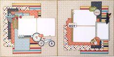 Genuine Boy Two Page Layout. #boyscrapbooklayouts #boyscrapbookideas #echoparkpaper