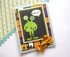 Boys Birthday Card Handmade Green Alien Cute Kids by AlmondCrafts