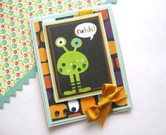 Boys Birthday Card Handmade Green Alien Cute Kids by AlmondCrafts