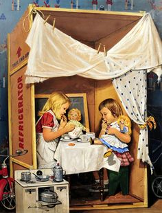 Playing House - Little Girls Having Tea Party In Cardboard Box