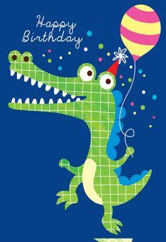 Dancing Crocodile - Happy Birthday Card  #greetingcards #printable #diy #birthday