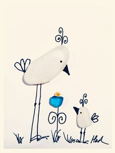 Lovely birds Sea glass art pictures