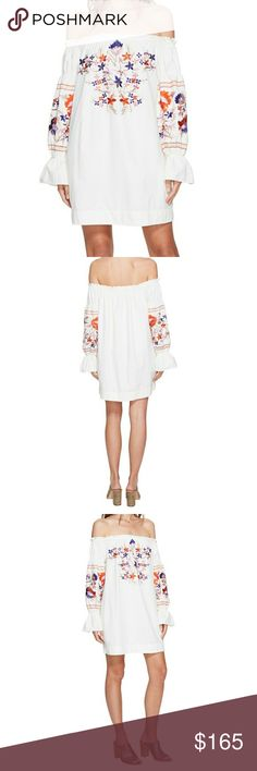 Free People Mini Dress Free People Mini Dress Lightweight dress boasts a beautiful floral embroidery. Off-the-shoulder neckline. Billowing long sleeves with gathered cuffs. Straight hemline. 100% cotton.  🌹NWT- BRAND NEW WITH TAGS 🌹100% AUTHENTIC 🌹BUNDLE & SAVE / NO TRADES 🌹OFFERS ACCEPTED THROUGH THE OFFER BUTTON ONLY  🚫PLEASE FOLLOW CLOSET RULES AND BE RESPECTFUL I DO NOT TOLERATE RUDE BEHAVIOR THIS IS A BUSINESS THANK YOU Free People Dresses Mini