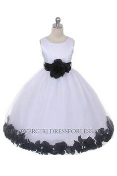 Flower Girl Dress Style 152-Choice of White or Ivory Dress with Black Sash and Petals $59.99