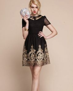 Baroque royal gold embroidery dress - BLACK - folk russian theme french laces coctail dress, new year party elegant christmas