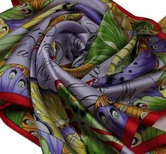 """Thistle Purple 100% Silk Scarf Kerchief With Color Butterfly Fly Square 35""""x 35""""   eBay $10"""