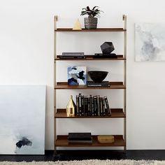 Linden Mid-Century Wide Shelf Unit - Walnut/Blackened Brass