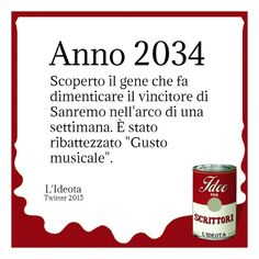 """Anno 2034. Scoperto il gene che fa dimenticare il vincitore di Sanremo nell'arco di una settimana. È stato ribattezzato """"Gusto musicale""""."""