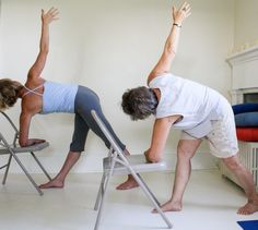 There are many types of yoga for seniors to choose from. The beauty of yoga is we adapt it to our own health and abilities or situation.Yoga is beneficial. Iyengar Yoga, Senior Fitness, Yoga Fitness, Physical Fitness, Yoga Suave, Chair Pose, Chair Yoga Poses, Chair Exercises, Yoga Props