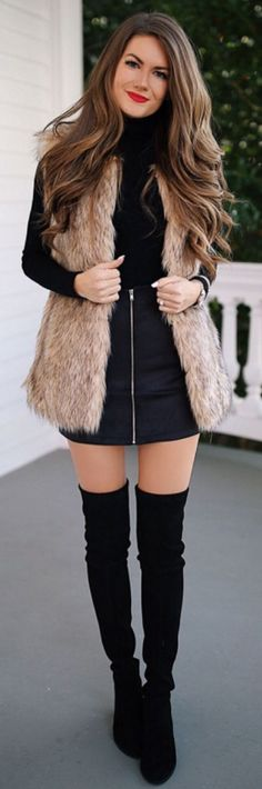 #Winter #Outfits / Faux Fur Vest + Black OTK Boots