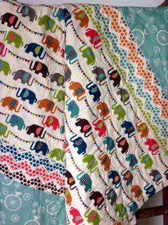 Baby Quilt, Organic, Modern, Safari Soirée, Elephun, Baby Blanket, Elephants, Baby Bedding, Crib Bedding, Nursery Quilt by CoolSpool on Etsy