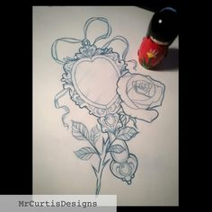 Rose and mirror tattoo design. Beauty and the Beast tattoo design.