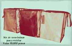 Kit de tres bolsas para reciclar en casa u oficina