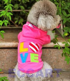 Colorful Pink Love Sweater Dog Pet Clothes Puppy Autumn Coat Jumpsuit Hoodie   eBay