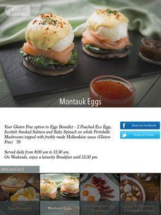 The Hamptons Café - Montauk Eggs - iPad Tablet Digital Menu in Arabic, English, Russian - Breakfast Russian Breakfast, Digital Menu, Hollandaise Sauce, Ipad Tablet, Baby Spinach, Smoked Salmon, Portobello, The Hamptons, Stuffed Mushrooms