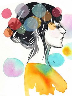 profile by samantha hahn...watercolors, permanent markers, tissue paper