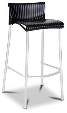 """Yamba"" Stackable Resin and Aluminium Outdoor Bar Stool 76cm in Black - AU$179 - https://www.simplybarstools.com.au/products/yamba-stackable-resin-and-aluminium-outdoor-bar-stool-76cm-in-black – Simply Bar Stools - Stackable, fixed leg, powdercoat bar stools. #Australia #Furniture"