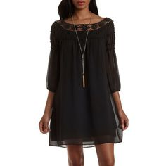 Charlotte Russe Black Crochet & Chiffon Shift Dress by Charlotte Russe... ($33) ❤ liked on Polyvore