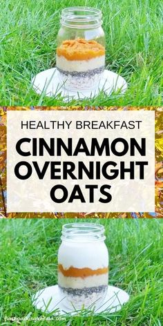 Overnight oats for clean eating breakfast. Cinnamon pumpkin banana overnight oats with chia seeds and with coconut milk. Easy healthy breakfast ideas with oatmeal recipes. Or make with almond milk and with or without yogurt for vegan breakfast. Clean Eating Oatmeal, Healthy Oatmeal Breakfast, Clean Eating Breakfast, Fall Breakfast, Healthy Breakfast Recipes, Breakfast Ideas, Healthy Recipes, Eating Healthy, Healthy Snacks