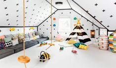 Attic Playroom - Design photos, ideas and inspiration. Amazing gallery of interior design and decorating ideas of Attic Playroom in living rooms, dens/libraries/offices, girl's rooms, boy's rooms by elite interior designers. Attic Playroom, Playroom Design, Attic Rooms, Toy Rooms, Attic Spaces, Kids Room Design, Playroom Decor, Kid Spaces, Modern Playroom