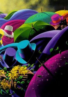 The Black Cat Art Print by Claude Theberge, Black Cat Art, Art Prints, Painting, Rainbow Colors, Art, Canadian Painters, Umbrella Art, Color Of Life, Beautiful Art