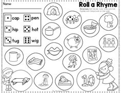 Roll a Rhyme. Students roll the die and use the code to color the pictures.