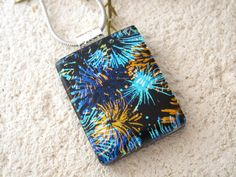 Black, Blue, Gold, Dichroic Jewelry, Fireworks Necklace, Fused Dichroic Glass Pendant, Dichroic Pendant, Silver Necklace  031615p103 by ccvalenzo on Etsy