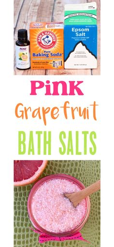 Bath Salts Recipe!  Easy DIY Homemade Pink Grapefruit Bath Salts!  Add a splash of summer to your spa night at home with these simple to make salts, or give some as a gift in a jar! | TheFrugalGirls.com