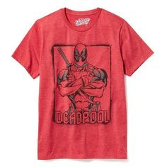 Old Navy Marvel Comics Deadpool Graphic Tee For Men ($12) ❤ liked on Polyvore featuring men's fashion, men's clothing and in the red