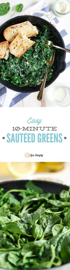 The best and easiest way to prepare greens (spinach, chard, or kale). 10 minutes and four ingredients! 100% healthy and delicious!