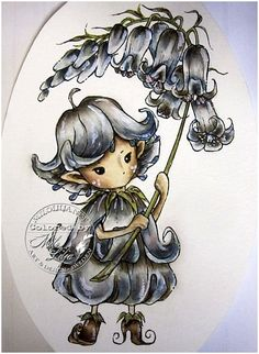 Mitzi Sato-Wiuff's Whimsical Bluebell Sprite — Sweet Pea Stamps