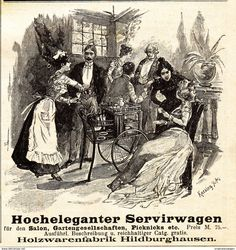 Werbung - Original-Werbung/ Anzeige 1901 - HOLZWARENFABRIK HILDBURGHAUSEN / MOTIV SERVIRWAGEN (SERVIERWAGEN) - ca. 80 x 80 mm